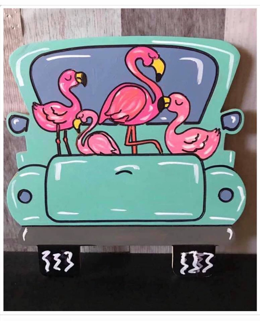 Flamingo Truck, Unfinished Wood Cutout, Paint by Line