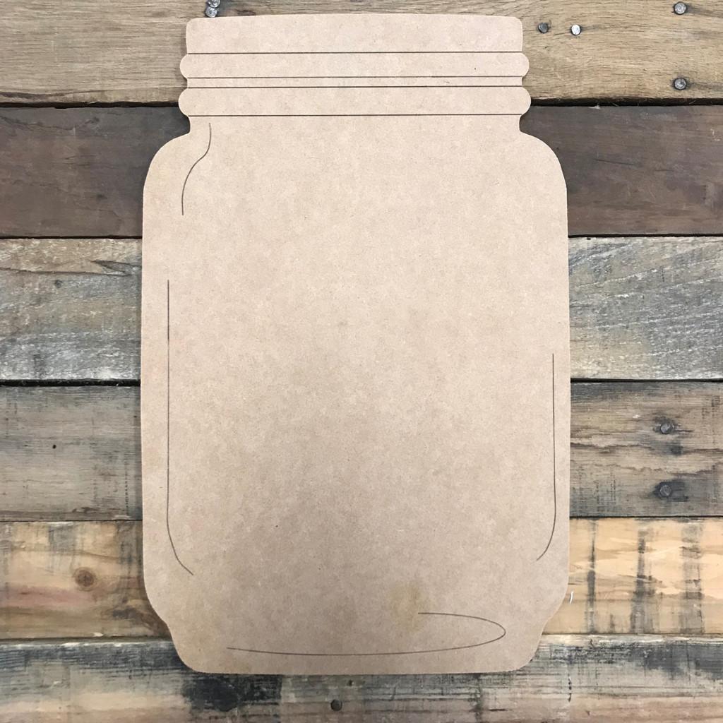 Plain Mason Jar, Unfinished Wooden Cutout Craft, Paint by Line