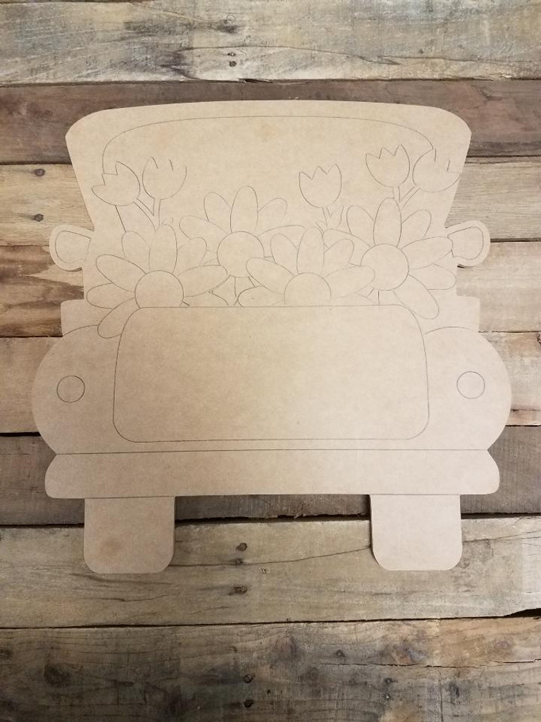 Tulip Truck, Unfinished Wooden Craft, Paint by Line