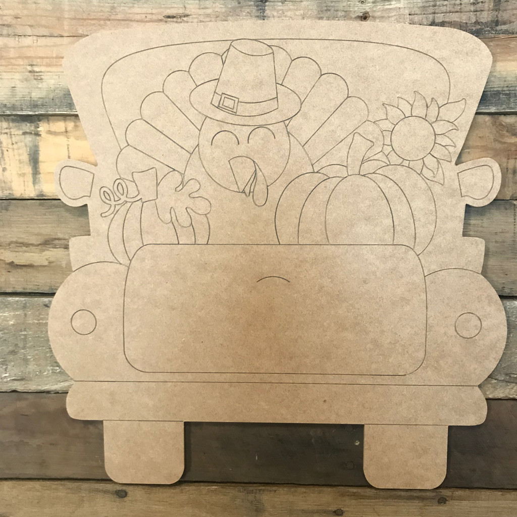 Turkey and Pumpkin Truck, Unfinished Wood Cutout, Paint by Line