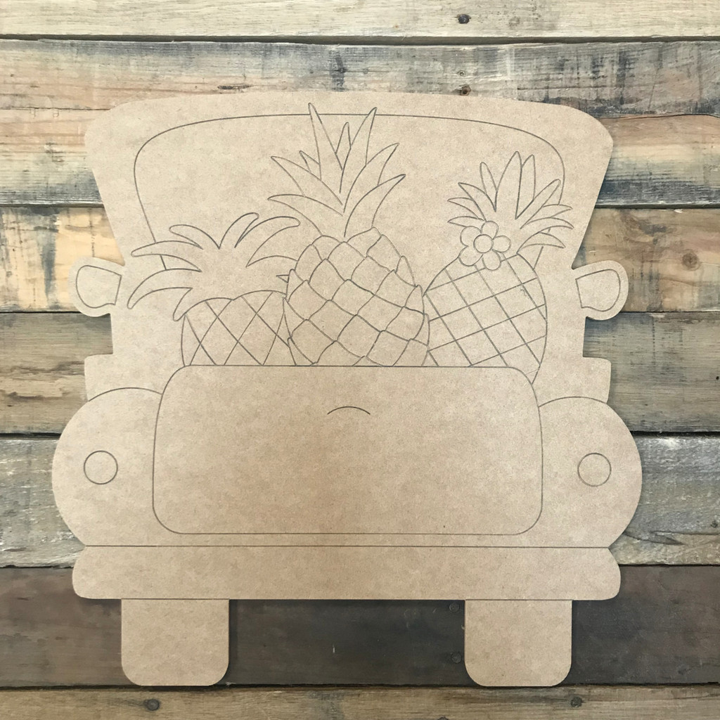Pineapple Truck, Unfinished Wood Cutout, Paint by Line