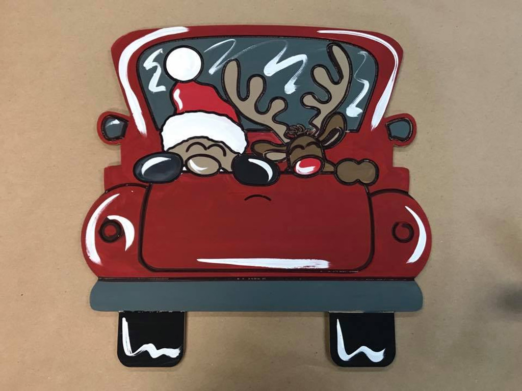 New Christmas Truck, Unfinished Wood Cutout, Paint by Line