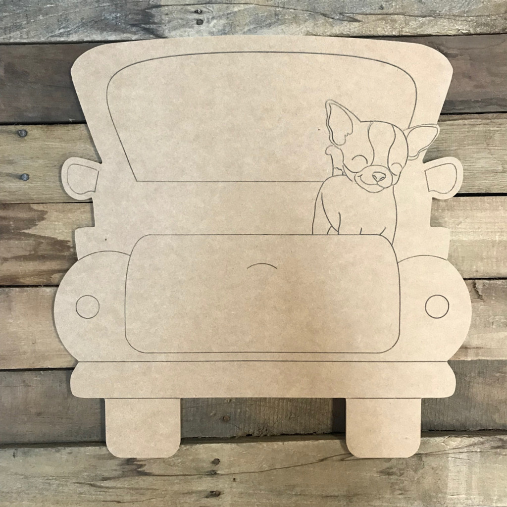 Chihuahua Truck, Unfinished Craft, Paint by Line