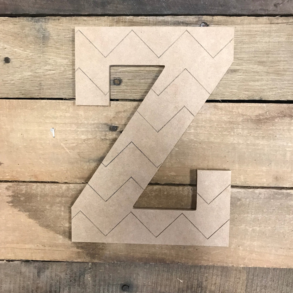 Wood Rockwell Chevron Letters, Unfinished Paint by Line