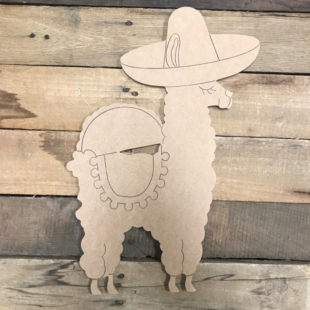 Fiesta Llama, Unfinished Wood Cutout, Paint by Line
