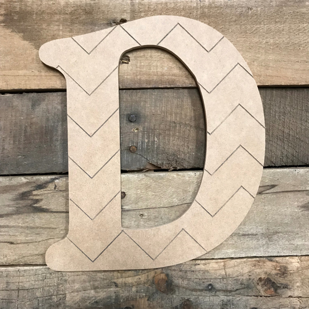 Wood Beltorian Chevron Letters, Unfinished Paint by Line