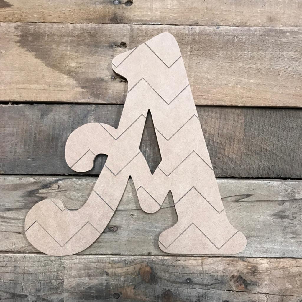 Wood Beltorian Chevron Letters, Unfinished Paint by Line