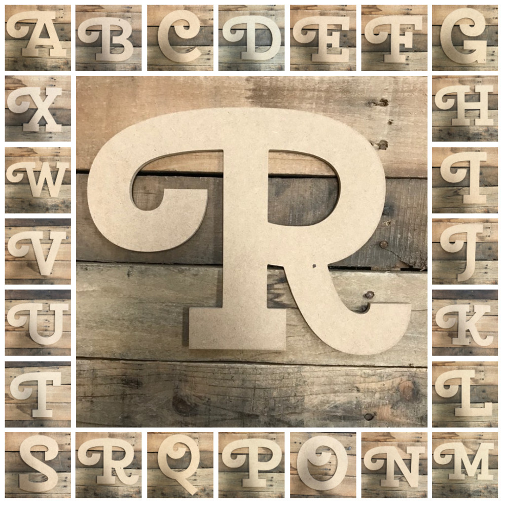 Wooden Letters Unfinished Mdf Cherry Swash Paintable Diy Craft