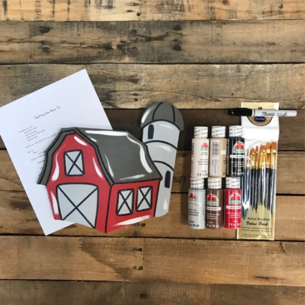 Barn House,  Paint Kit, Video Tutorial and Instructions