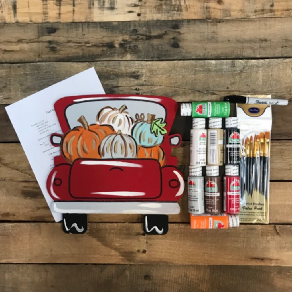 Truck full of Pumpkins,  Paint Kit, Video Tutorial and Instructions