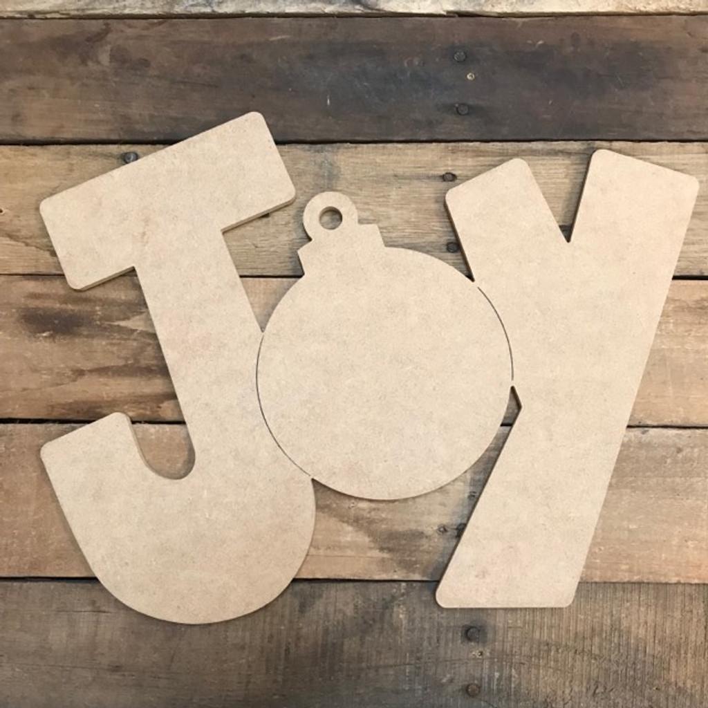 JOY Cutout, Unfinished Shape, Paint by Line
