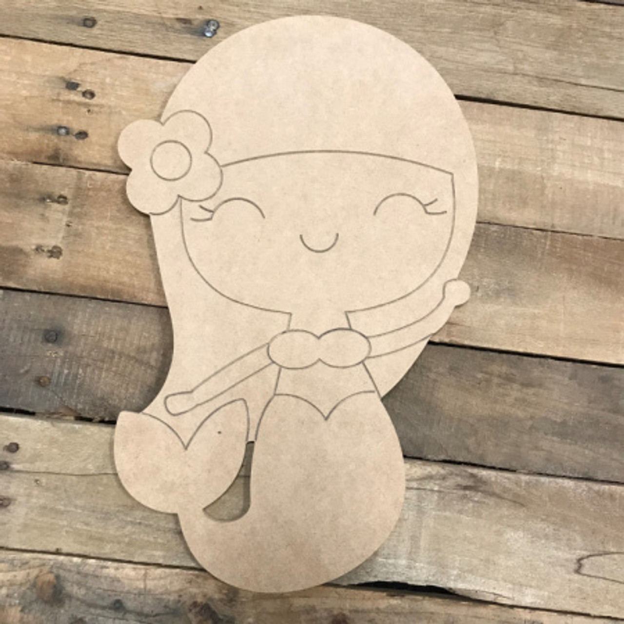 Wall Art Home Decor Wooden Shape Mermaid Princess Wall Hanging Unfinished and Available from 2 to 42 Inches Wooden Cut Out