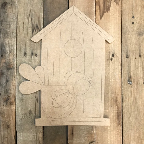 Bird House with Little Birdie Cutout, Shape, Paint by Line