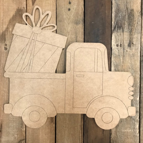 Present Truck Cutout, Unfinished Shape, Paint by Line