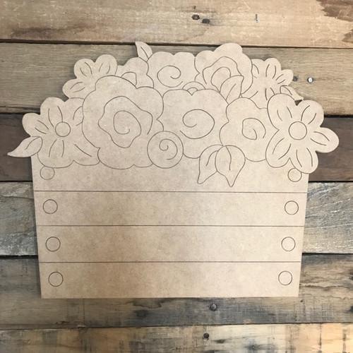 Flowers in Basket Cutout, Shape, Paint by Line