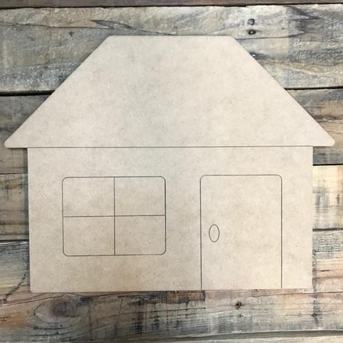 House Cutout, Unfinished Shape, Paint by Line