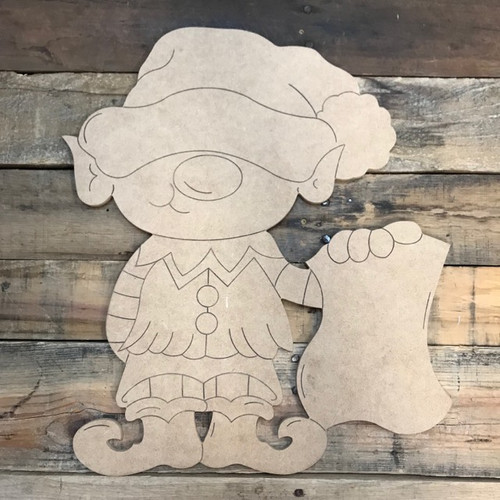 Elf with List, Wood Cutout, Shape, Paint by Line