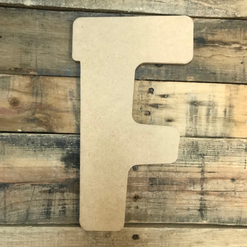 Block letter F are large paintable wooden letters.