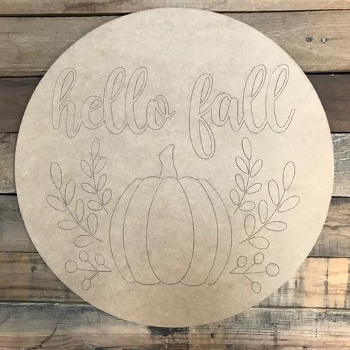 Hello Fall Circle, Wood Cutout, Shape, Paint by Line