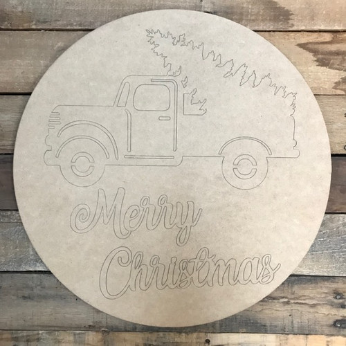 Merry Christmas Circle, Wood Cutout, Shape, Paint by Line