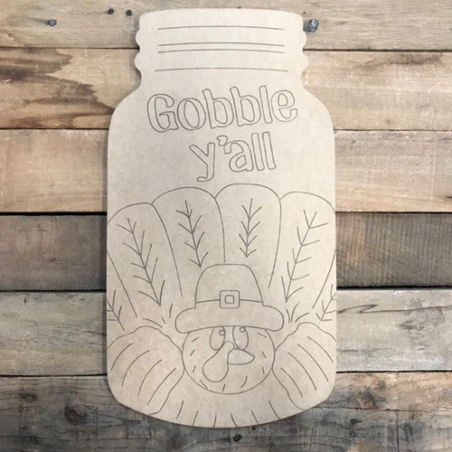 Gobble Mason Jar, Wood Cutout, Shape, Paint by Line