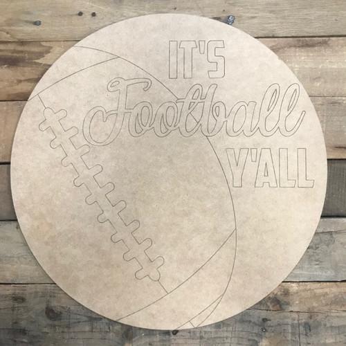 Football Circle, Wood Cutout, Shape, Paint by Line