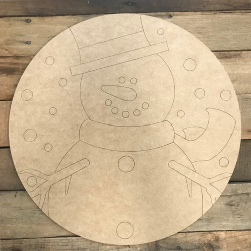 Frosty the Snowman Circle, Wood Cutout, Shape, Paint by Line