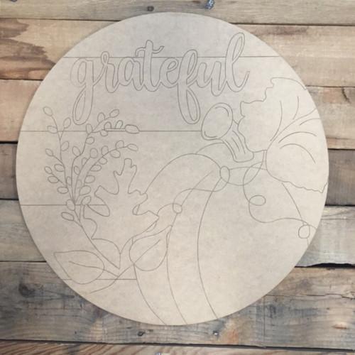 Grateful Circle, Wood Cutout, Shape, Paint by Line