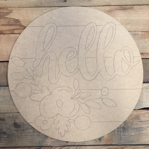 Hello Circle, Wood Cutout, Shape, Paint by Line