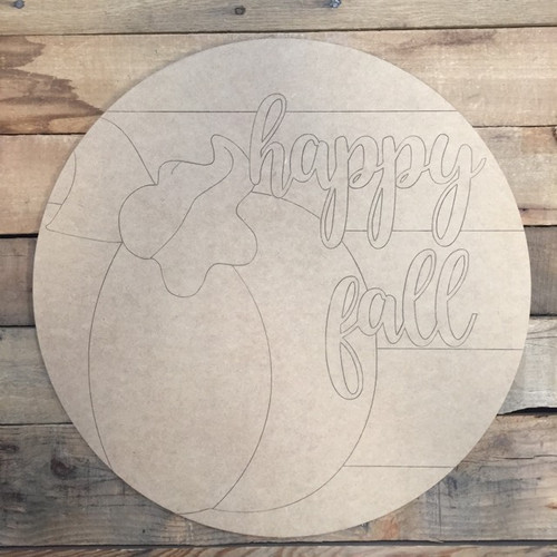Happy Fall Pumpkin Circle, Wood Cutout, Shape, Paint by Line