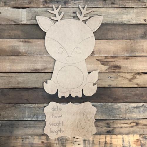 Deer Baby Announcement, Door Hanger Paint by Line