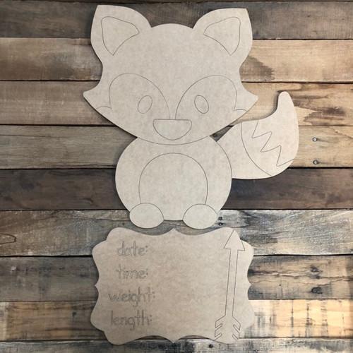 Fox Baby Announcement, Door Hanger Paint by Line