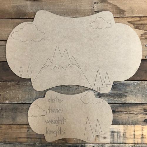 Mountains Baby Announcement, Door Hanger Paint by Line