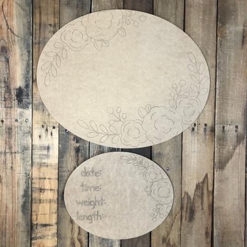 Oval Plaque Baby Announcement, Door Hanger Paint by Line