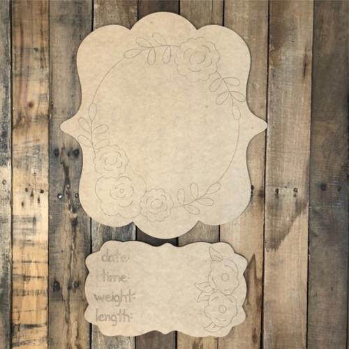 Pointed Plaque Baby Announcement, Door Hanger Paint by Line
