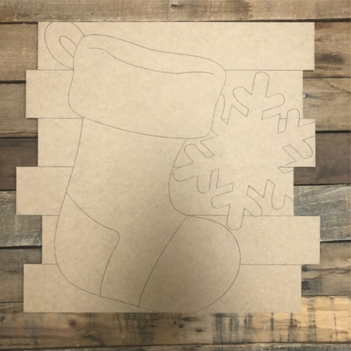 Stocking Shiplap, Wood Cutout, Shape, Paint by Line