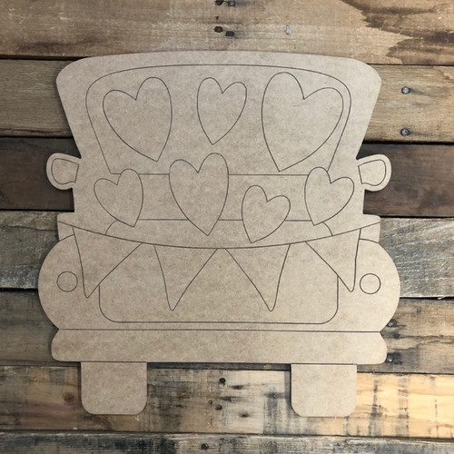 Truck Full of Hearts, Wood Cutout, Shape, Paint by Line