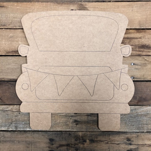 Truck with Ribbon, Wood Cutout, Unfinished Shape, Paint by Line