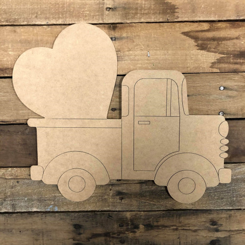 Heart Truck Wood Cutout, Unfinished Shape, Paint by Line