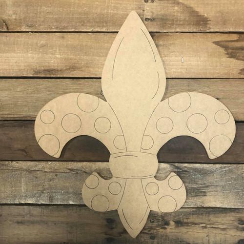 Fleur De Lis with Circles, Wood Cutout, Shape, Paint by Line