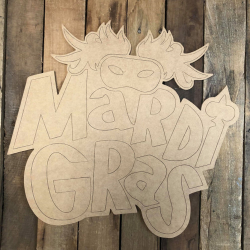 Mardi Gras Word with Mask, Wood Cutout, Shape, Paint by Line