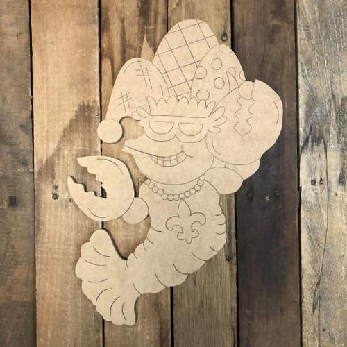 Mardi Gras Crawfish, Wood Cutout, Shape, Paint by Line
