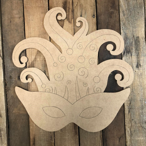 Decorative Mardi Gras Mask, Wood Cutout, Shape, Paint by Line