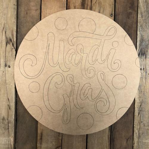 Mardi Gras Word Circle, Wood Cutout, Shape, Paint by Line