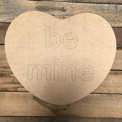Valentine Heart Be Mine Cutout, Unfinished Shape, Paint by Line