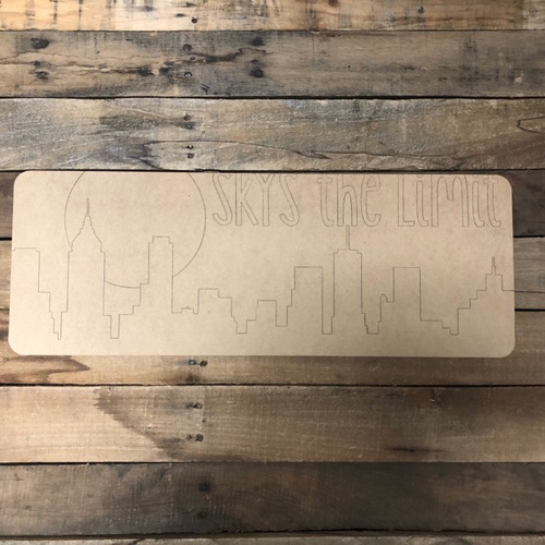 Skies the Limit Plaque, Wood Cutout, Shape, Paint by Line