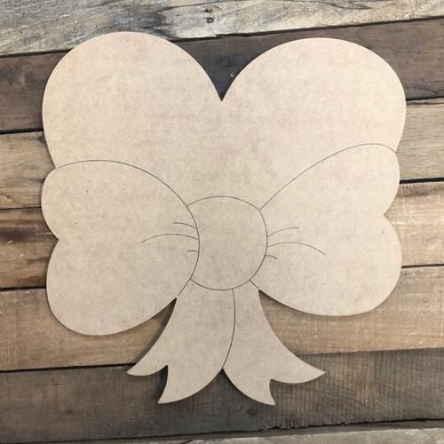 Heart Ribbon Cutout, Unfinished Shape, Paint by Line