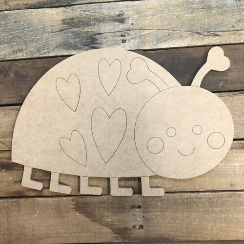 Heart Ladybug Cutout, Unfinished Shape, Paint by Line