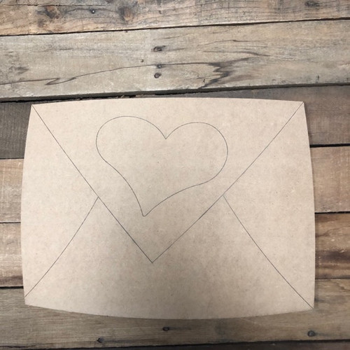 Envelope with Heart Cutout, Unfinished Shape, Paint by Line