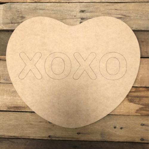 XOXO Heart Cutout, Unfinished Shape, Paint by Line